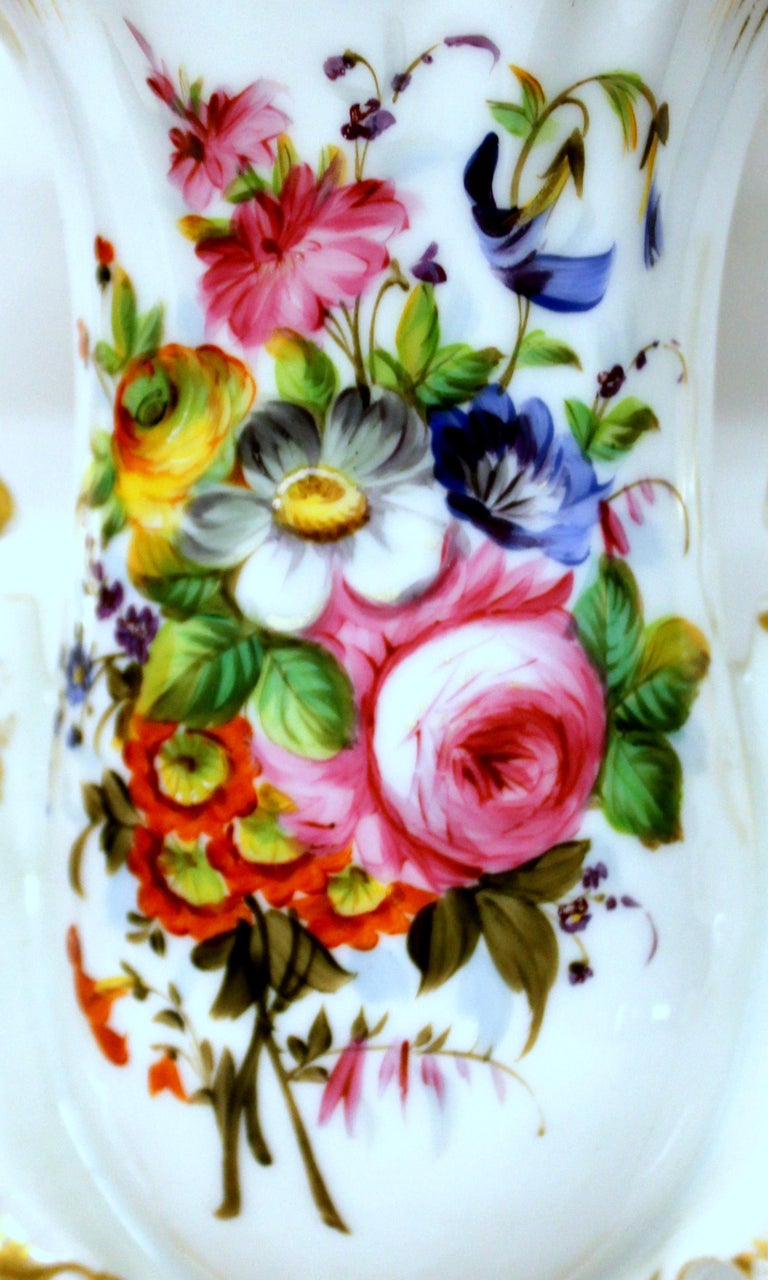 Pair of Antique French Hand Painted Porcelain Flair Vases with Botanical Sprays For Sale 7