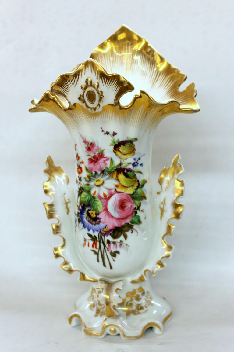 Pair of Antique French Hand Painted Porcelain Flair Vases with Botanical Sprays For Sale 10