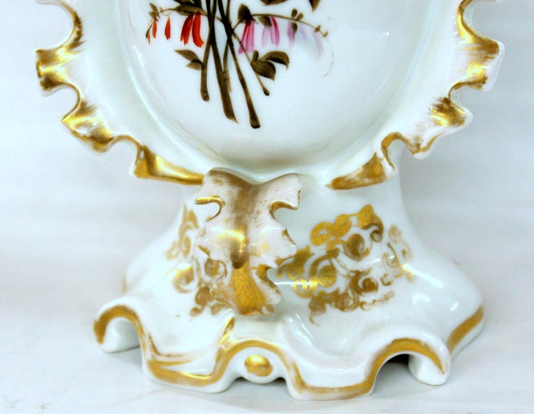 Pair of Antique French Hand Painted Porcelain Flair Vases with Botanical Sprays For Sale 13
