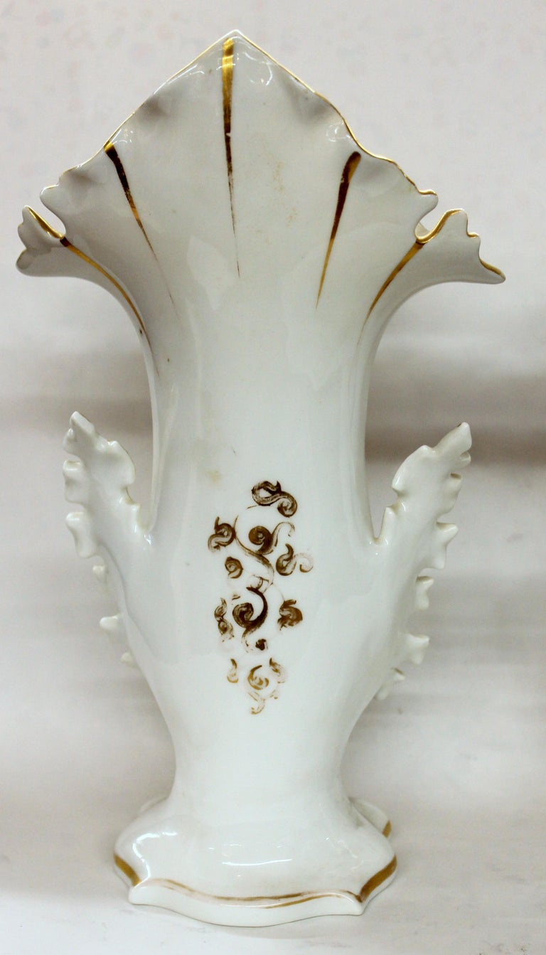 Pair of Antique French Hand Painted Porcelain Flair Vases with Botanical Sprays In Good Condition For Sale In Charleston, SC