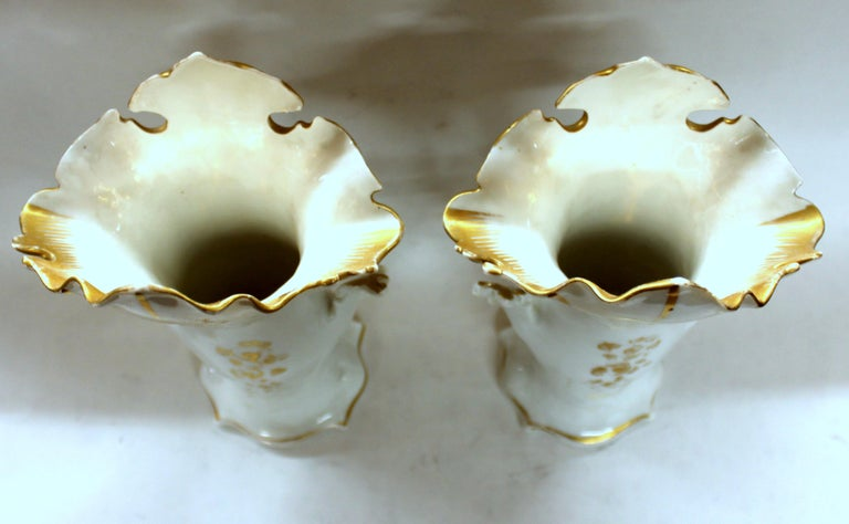 19th Century Pair of Antique French Hand Painted Porcelain Flair Vases with Botanical Sprays For Sale