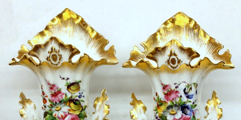 Pair of Antique French Hand Painted Porcelain Flair Vases with Botanical Sprays For Sale 2