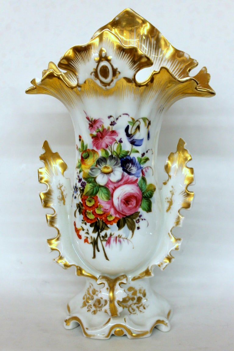 Pair of Antique French Hand Painted Porcelain Flair Vases with Botanical Sprays For Sale 3