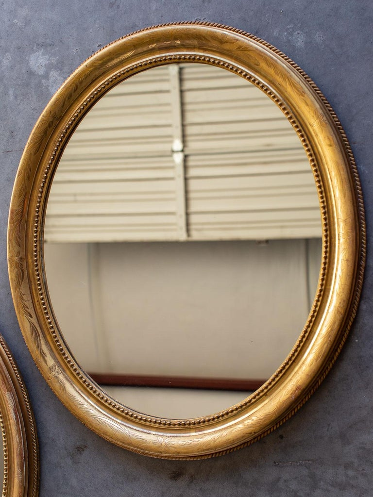 Pair Of Antique French Louis Philippe Oval Gold Framed