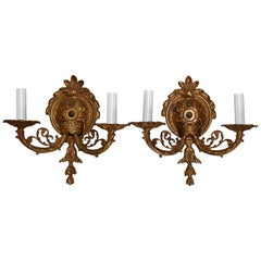 Pair of Antique French Louis XIV Gilt Bronze Foliate Electric Wall Sconces