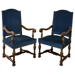 Pair Antique French Louis XIV Walnut Armchairs