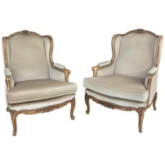Pair of Antique French Louis XV Bergeres, Armchairs