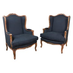 Pair of Antique French Louis XV Bergères, Armchairs