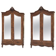 Pair of Antique French Louis XV Mahogany Armoires
