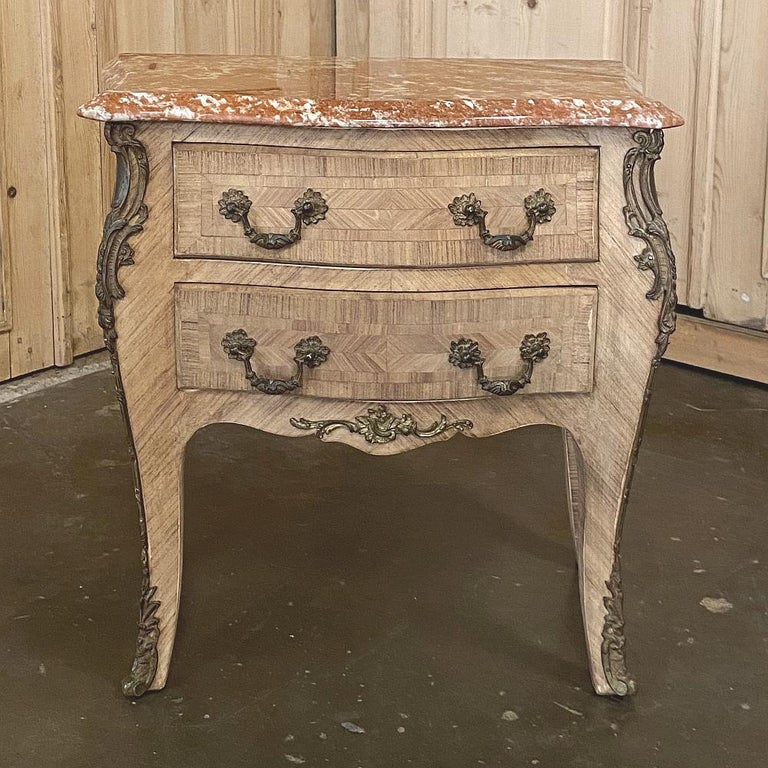 Pair of Antique French Louis XV Marble-Top Marquetry Commodes For Sale 5