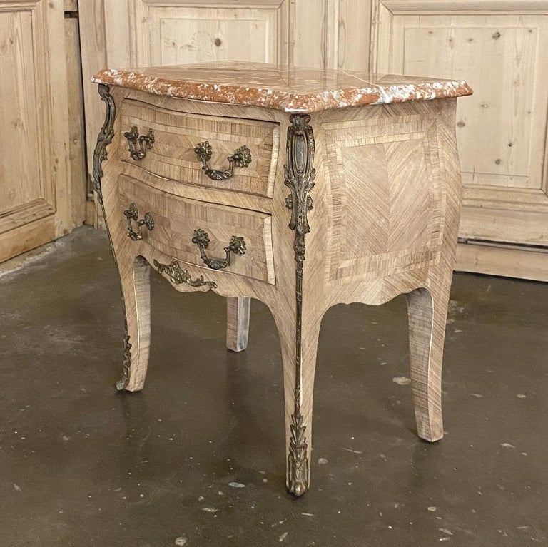 Pair of Antique French Louis XV Marble-Top Marquetry Commodes For Sale 6