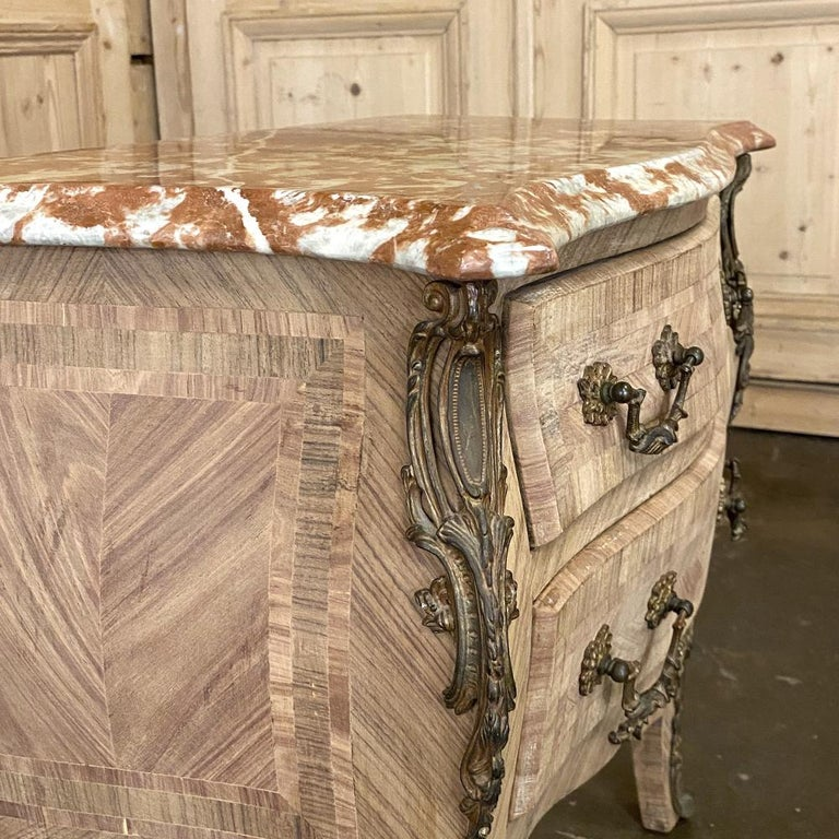 Pair of Antique French Louis XV Marble-Top Marquetry Commodes For Sale 7