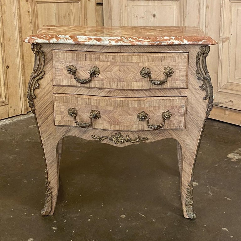 Hand-Crafted Pair of Antique French Louis XV Marble-Top Marquetry Commodes For Sale