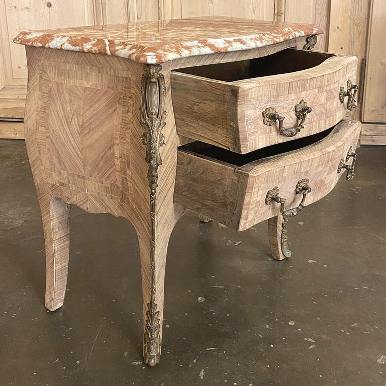 Pair of Antique French Louis XV Marble-Top Marquetry Commodes In Good Condition For Sale In Dallas, TX