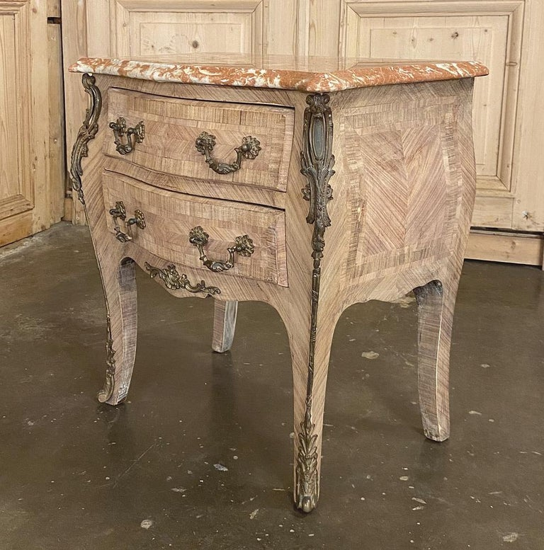 20th Century Pair of Antique French Louis XV Marble-Top Marquetry Commodes For Sale