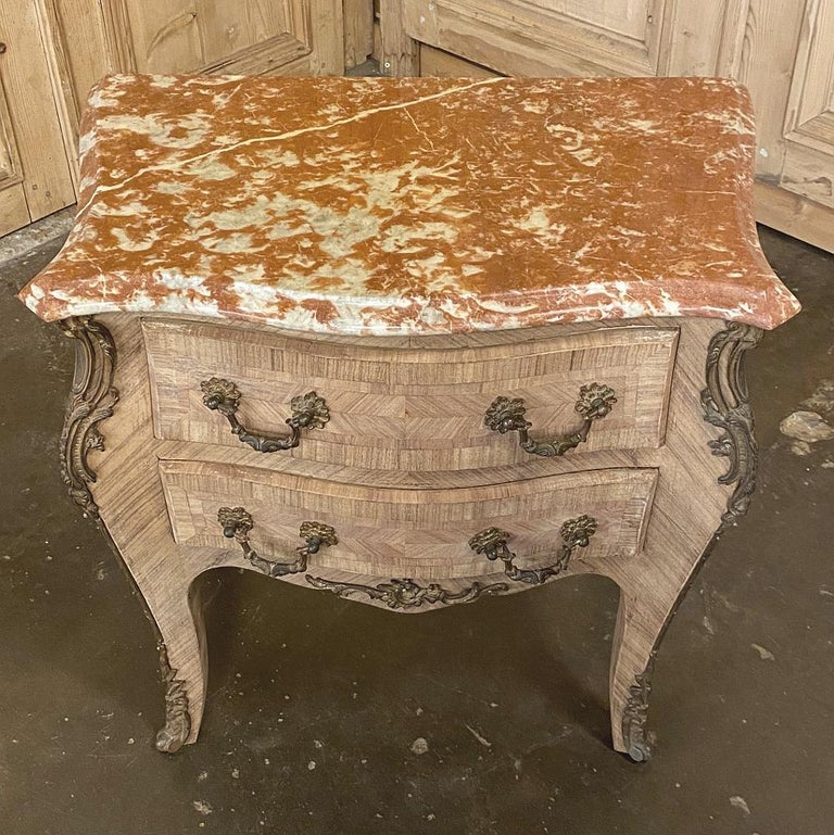 Pair of Antique French Louis XV Marble-Top Marquetry Commodes For Sale 4