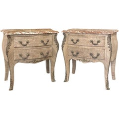 Pair of Antique French Louis XV Marble-Top Marquetry Commodes