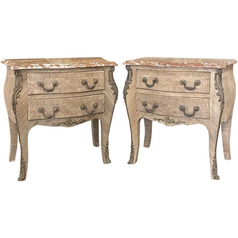 Pair of Antique French Louis XV Marble-Top Marquetry Commodes For Sale