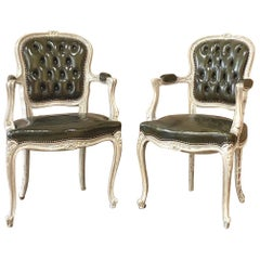 Pair of Antique French Louis XV Painted Armchairs with Leather