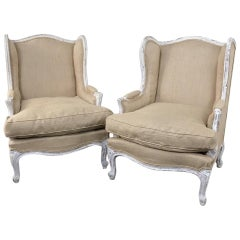 Pair of Antique French Louis XV Painted Bergères