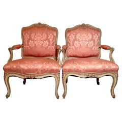 """Pair Antique French Louis XV Pink Upholstered """"Fauteuils"""" Armchairs, Circa 1890."""