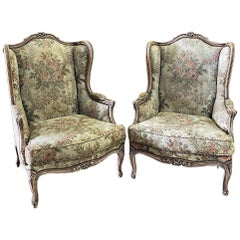 Pair of Antique French Louis XV Stripped Walnut Wingback Armchairs, Bergères
