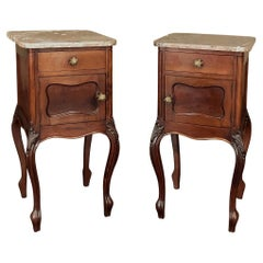 Pair Antique French Louis XV Walnut Marble Top Nightstands