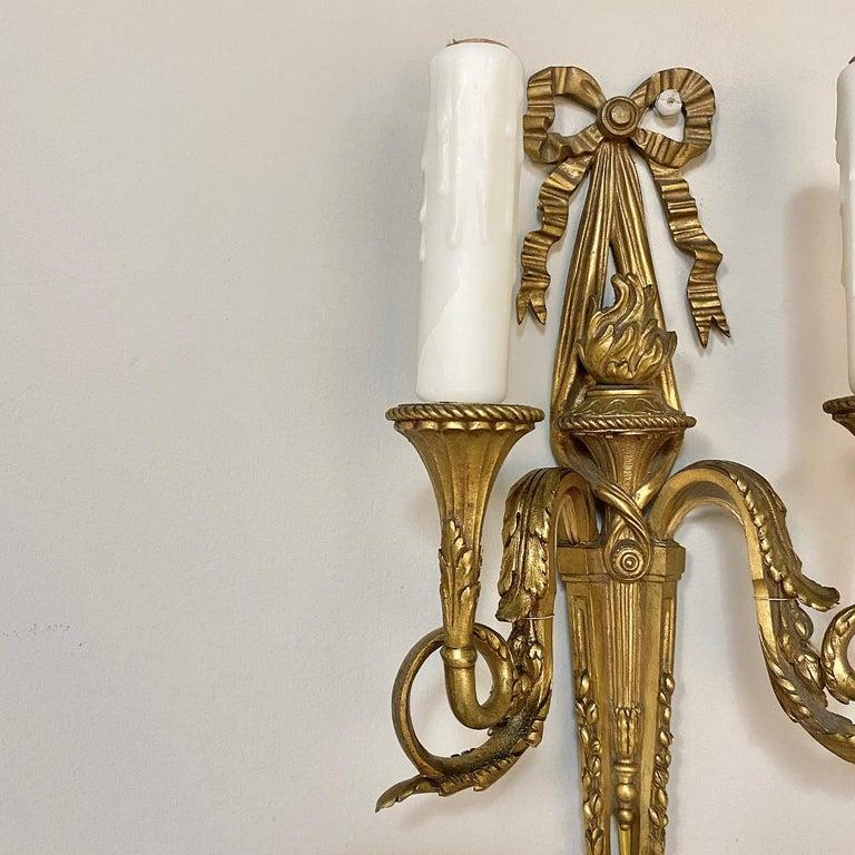Pair of Antique French Louis XVI Bronze Sconces For Sale 6