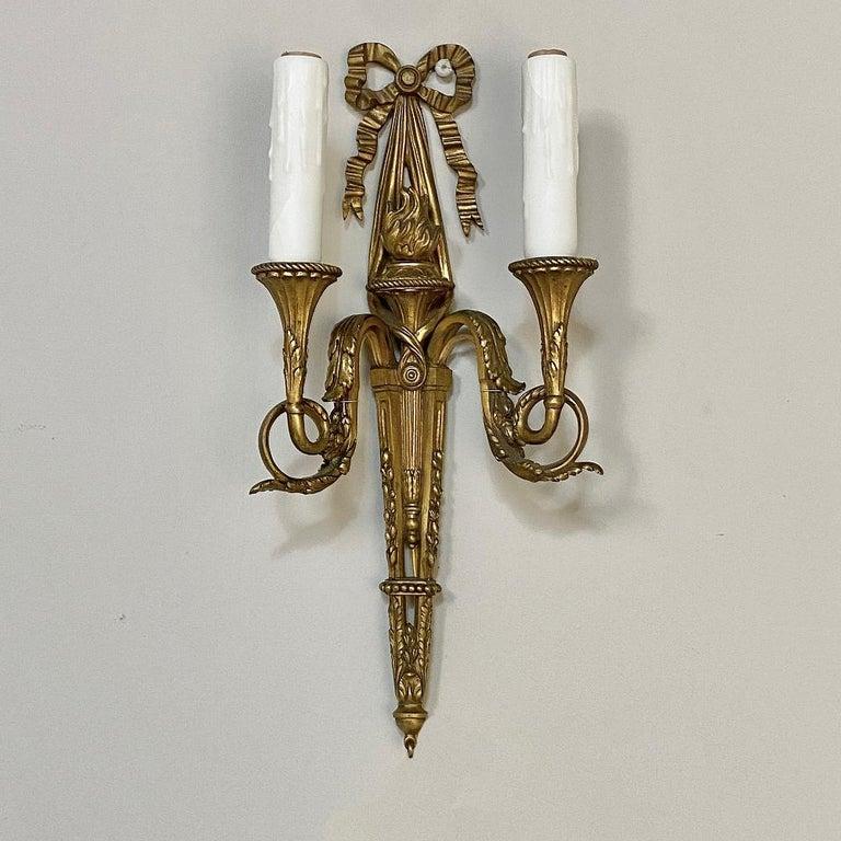 Pair of Antique French Louis XVI Bronze Sconces For Sale 2