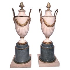 Pair Antique French Louis XVI Grey and White Marble Urns with Ormolu Circa 1800