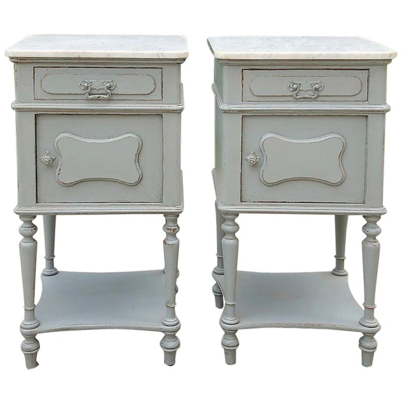 Pair Antique French Louis XVI Painted Marble Top Nightstands