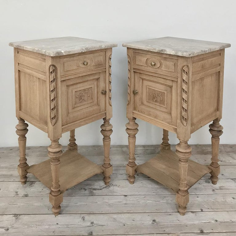 Pair of Antique French Louis XVI Stripped Marble Top Nightstands In Good Condition For Sale In Dallas, TX