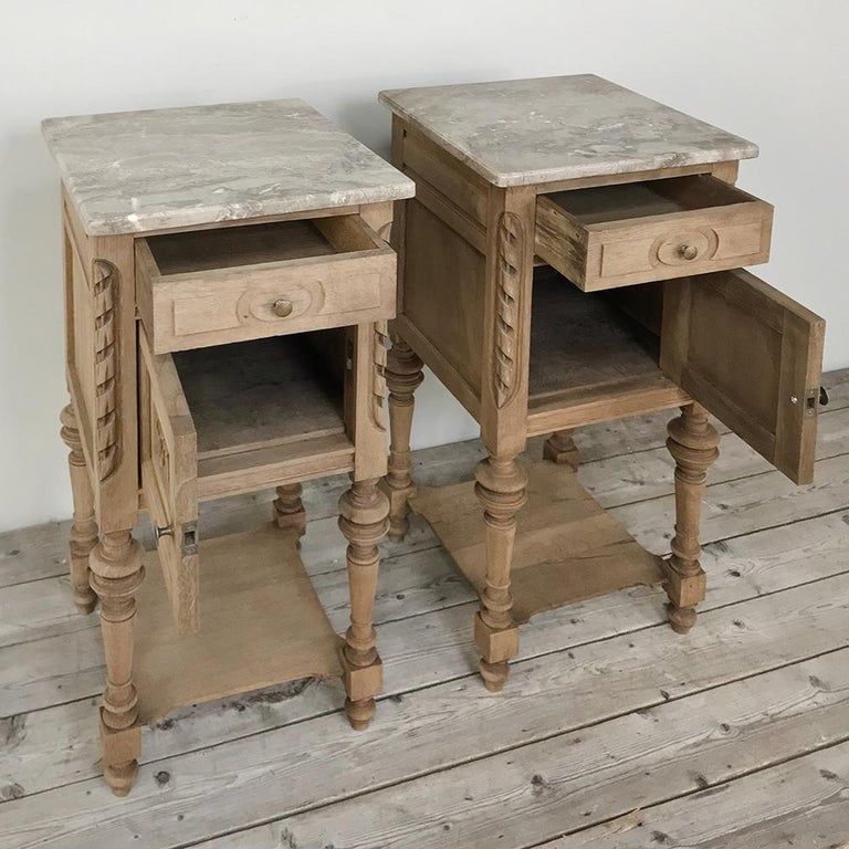 Pair of Antique French Louis XVI Stripped Marble Top Nightstands For Sale 1