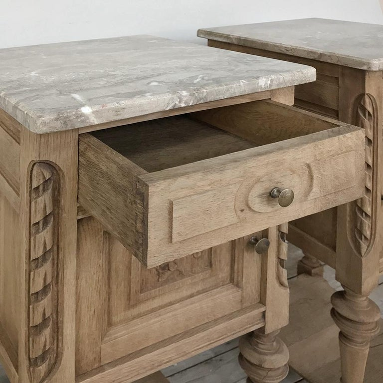 Pair of Antique French Louis XVI Stripped Marble Top Nightstands For Sale 3