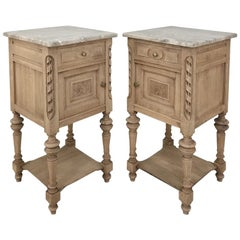 Pair of Antique French Louis XVI Stripped Marble Top Nightstands