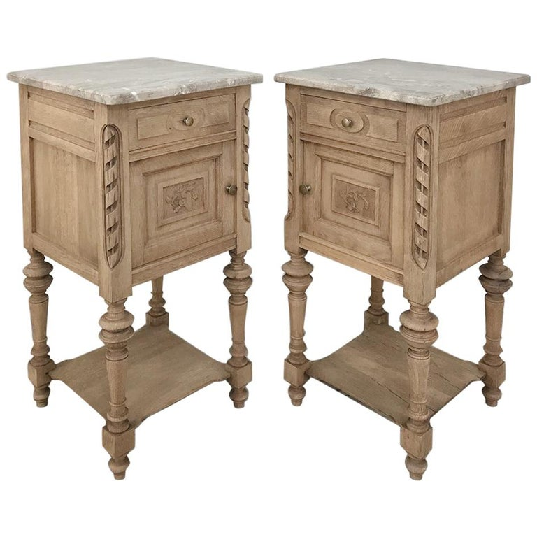 Pair of Antique French Louis XVI Stripped Marble Top Nightstands For Sale