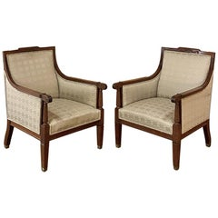 Pair of Antique French Louis XVI Walnut Armchairs, Bergères
