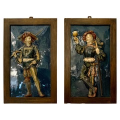 Pair Antique French Majolica High Relief Plaques, Louis XIV Musketeers, Ca. 1900
