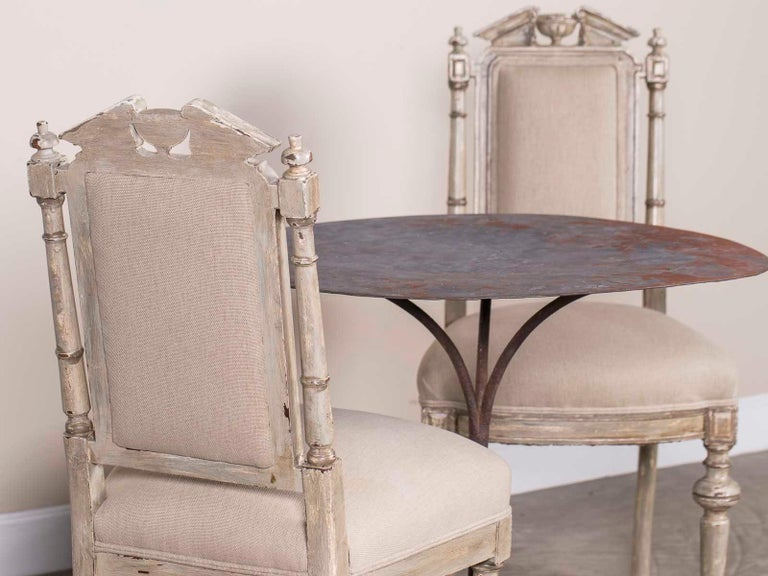 Louis XVI Pair of Antique French Napoleon III Period Painted Chairs, circa 1870 For Sale