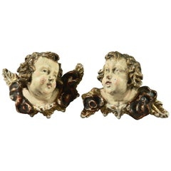 French Polychrome Carved Wood Figural Cherub Wall Sculptures 19th Century, Pair