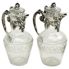 Pair of French Silver and Cut Glass Claret Jug / Wine Decanter Paris, circa 1880