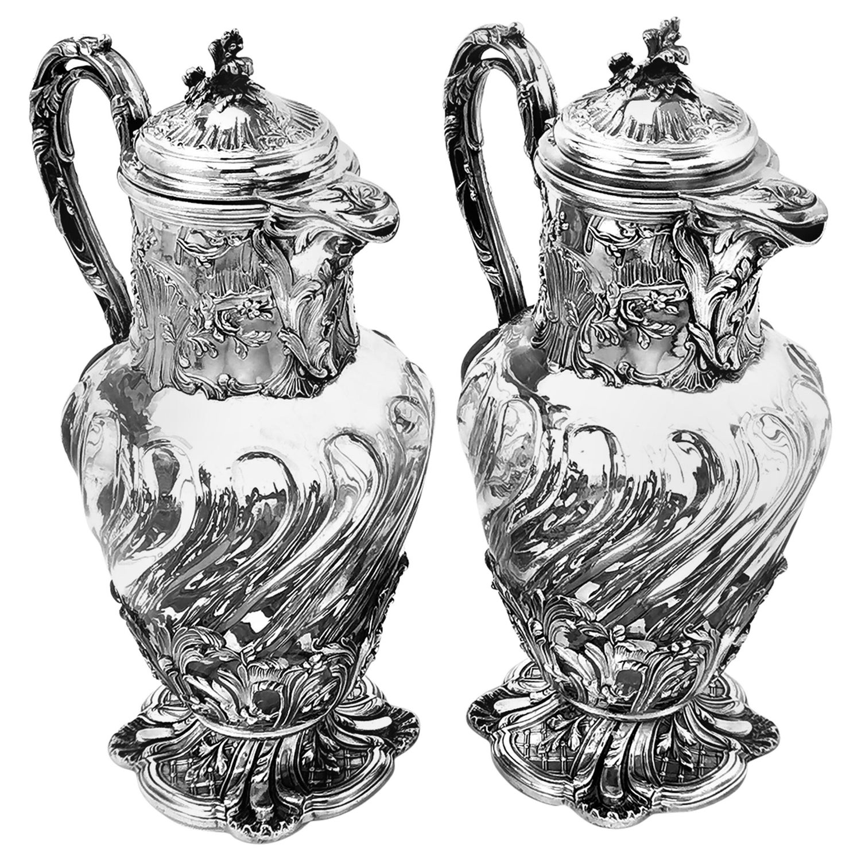 Pair Antique French Silver & Glass Claret Jugs Wine Decanter Paris France c 1880