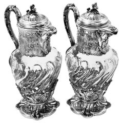 Pair Antique French Silver & Glass Claret Jugs Wine Decanter Paris France c 1880