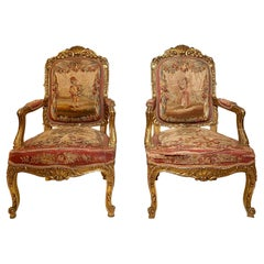 Pair Antique French Tapestry & Carved Wood with Gold Leaf Arm Chairs, Circa 1860