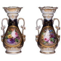 Pair of Antique French Vieux Old Paris Porcelain Floral Hand Painted Vases