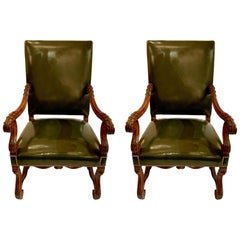Pair of Antique French Walnut François I Armchairs