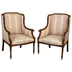 Pair of Antique French Walnut Louis XVI Bergères, Armchairs