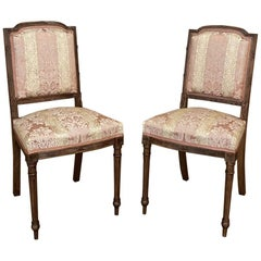 Pair of Antique French Walnut Louis XVI Side Chairs