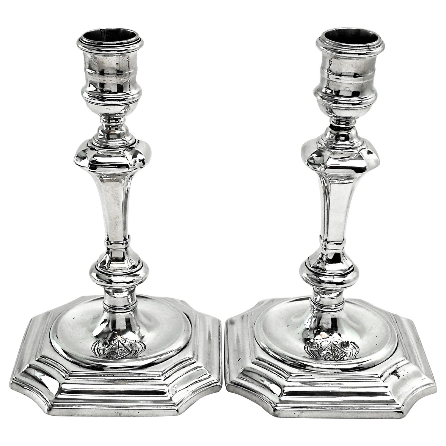 Pair of Antique George I Georgian Silver Candlesticks / Candleholders 1724