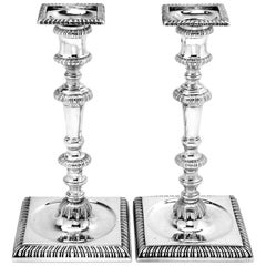 Pair of Antique George II Sterling Silver Candlestick, 1755
